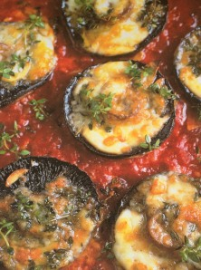 Jamie Oliver's Portobello Mushrooms Stuffed with Taleggio in Fresh Tomato and Basil Sauce