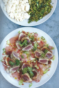 Seared Asian Tuna, Coconut Rice and Jiggy Jiggy Greens